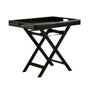 Odkládací stolek Bakero Black z umělé kůže, 50x70 cm