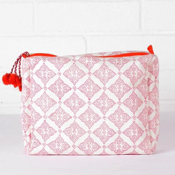 Ručně tištěná toaletní taška Tile Hot Pink