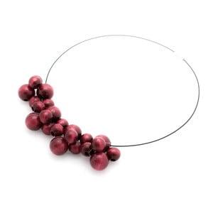 Vínový dřevěný náhrdelník Ko–ra–le Bubbles
