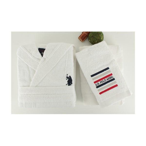 Bílá sada dámského županu a 2 ručníků U.S. Polo Assn. Lutsen, vel. XL
