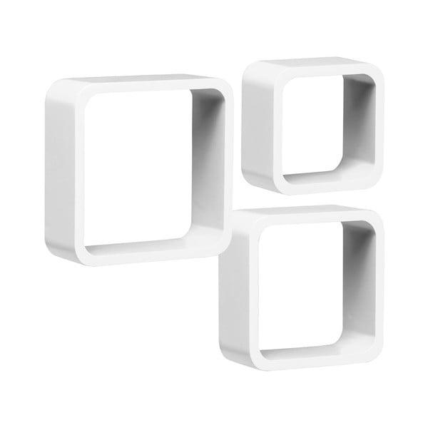 Set 3 polic Cubes, bílý