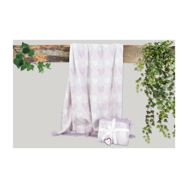 Fialová deka s příměsí bavlny Dolce Bonita Kalp, 155 x 125 cm
