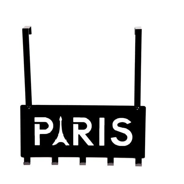 Černý věšák na dveře s 5 háčky Compactor Paris