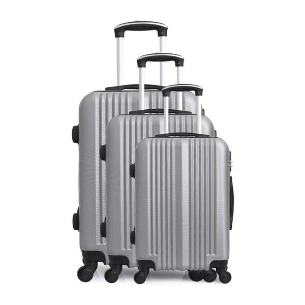 Sada 3 cestovních kufrů ve stříbrné barvě na kolečkách Hero San Diego