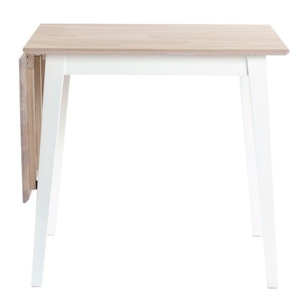 Matně lakovaný sklápěcí dubový jídelní stůl s bílými nohami Folke Mimi, délka 80-125cm