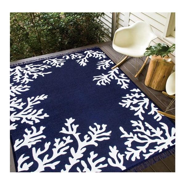 Modro-bílý oboustranný koberec Coral, 80 x 150 cm