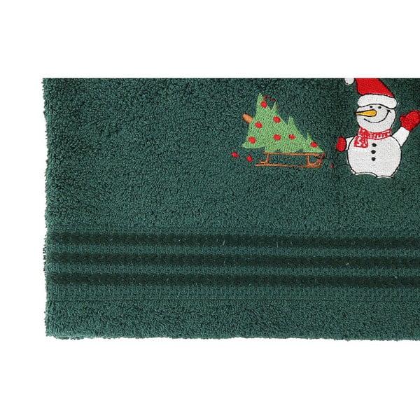 Sada 2 zelených vánočních ručníků Snowy, 70x140 cm