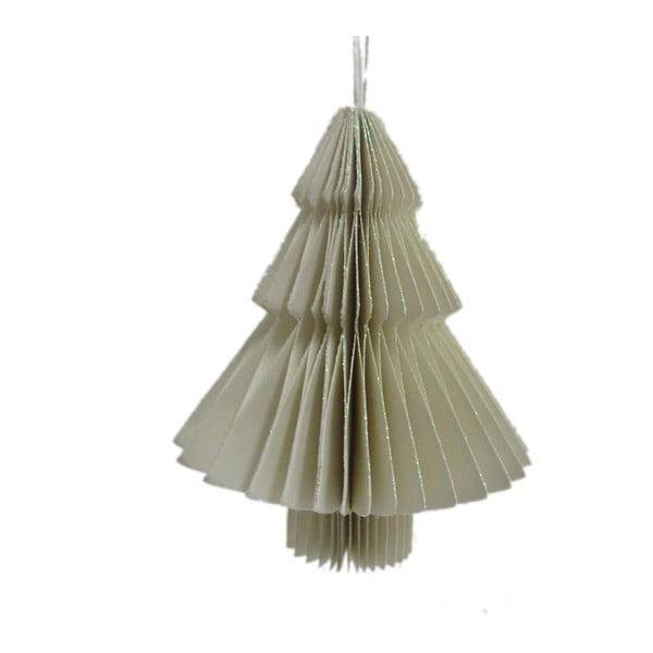 Jasnoszara papierowa ozdoba świąteczna w kształcie choinki Only Natural, dł. 10 cm
