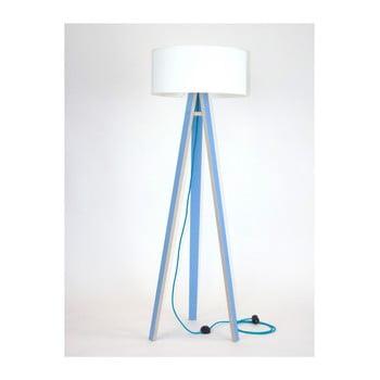 Lampadar cu abajur alb și cablu turcoaz Ragaba Wanda, albastru imagine