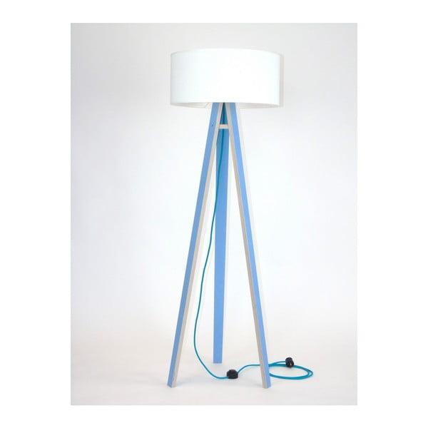 Lampadar cu abajur alb și cablu turcoaz Ragaba Wanda, albastru