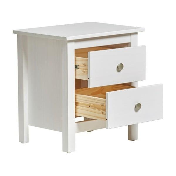 Noptieră cu 2 sertare din lemn masiv de pin Marckeric Berna, alb