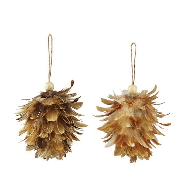 Sada 2 vianočných závesných dekorácií z peria Villa Collection Feathers