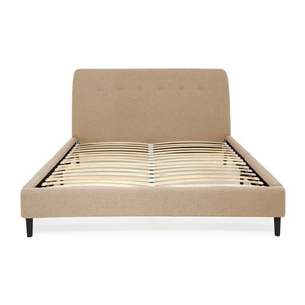 Pískově hnědá dvoulůžková postel s černými nohami Vivonita Mae King Size, 180 x 200 cm
