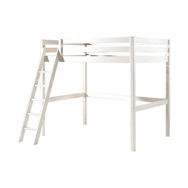 Białe łóżko dziecięce z drabinką Vipack Pino, 140x200 cm