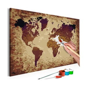 DIY set na tvorbu vlastního obrazu na plátně Artgeist Brown World Map, 60 x 40 cm