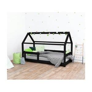 Černá dětská postel s bočnicemi ze smrkového dřeva Benlemi Tery, 80 x 160 cm