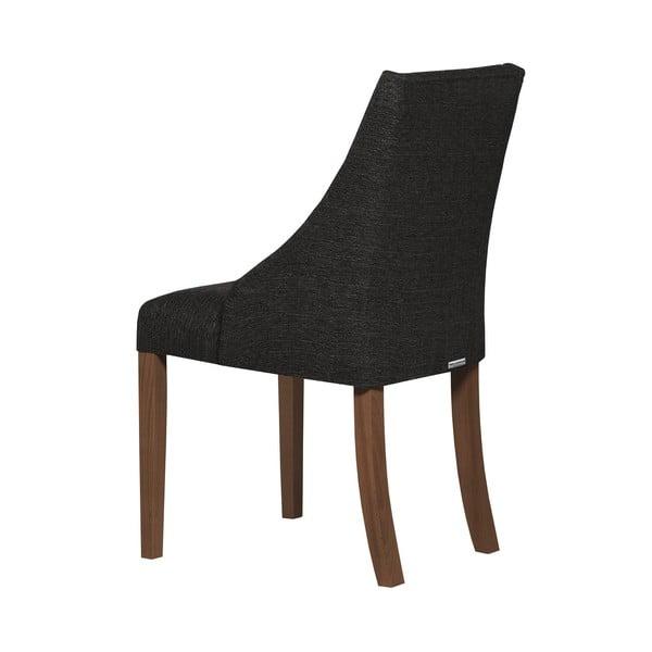 Antracitově šedá židle s tmavě hnědými nohami z bukového dřeva Ted Lapidus Maison Absolu