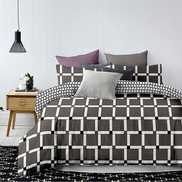 Czarno-biała dwustronna pościel jednoosobowa z mikrowłókna DecoKing Hypnosis Wall, 200x140 cm