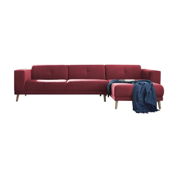 Červená pohovka s lenoškou a podnožkou Bobochic Paris Luna, pravý roh