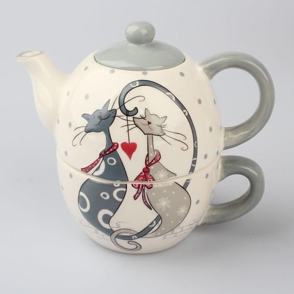 Set ceramic pentru ceai Dakls Cats Couple