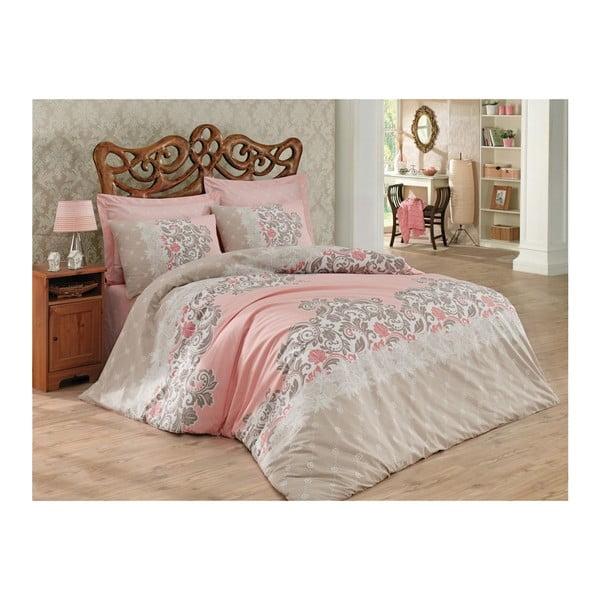 Lenjerie de pat cu cearșaf Megan Beige, 200 x 220 cm