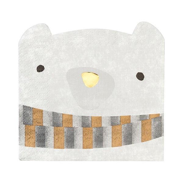 Sada 16 ubrousků ve tvaru medvěda Talking Tables Bear