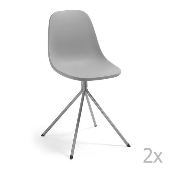 Sada 2 šedých jídelních židlí La Forma Mint