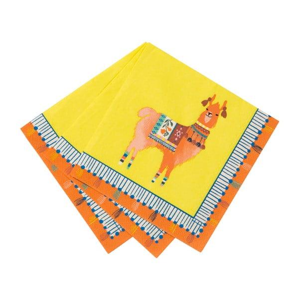 Zestaw 20 serwetek papierowych Talking Tables Boho Lama, 25x25 cm