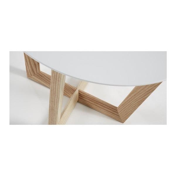 Măsuță auxiliară din lemn de frasin La Forma Rondo, blat alb