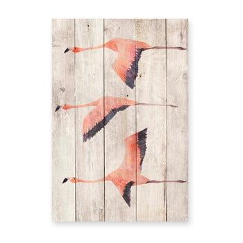 Decorațiune din lemn de pin pentru perete Madre Selva Flying Flamingo, 60 x 40 cm poza