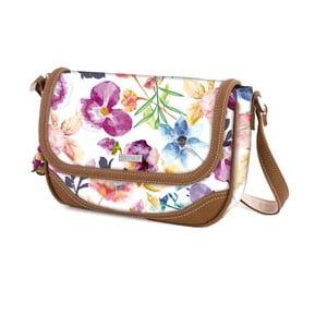 Bílá kabelka s barevnými květy SKPA-T, 24 x 17 cm