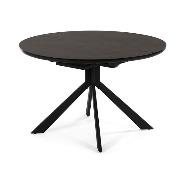 Czarny stół rozkładany La Forma Haydee, ø 120 cm