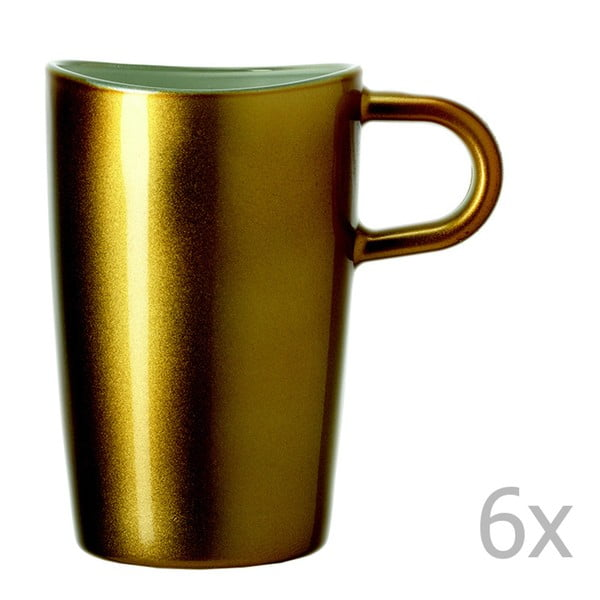 Sada 6 zlatých metalických hrnků na macchiato LEONARDO Loop, 365 ml