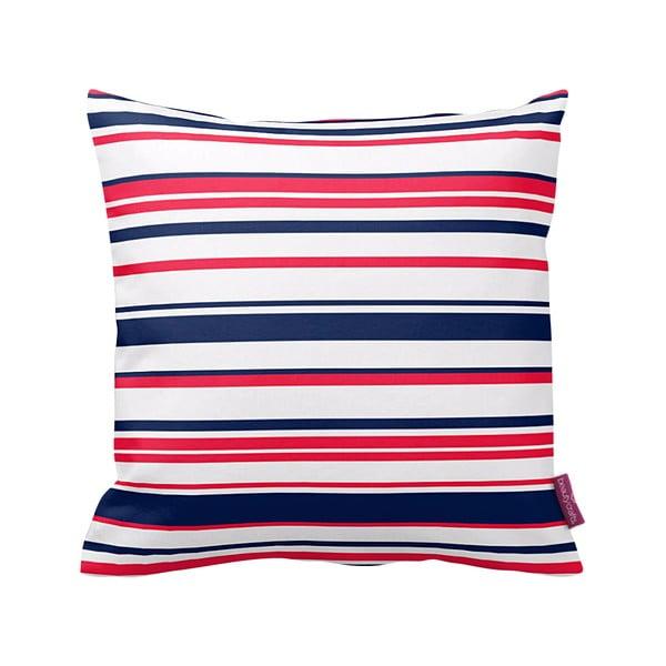 Polštář Red and Navy Stripes, 43x43 cm