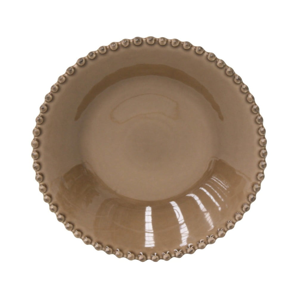 Kakaově hnědý kameninový talíř na polévku Costa Nova Pearl, ⌀24cm