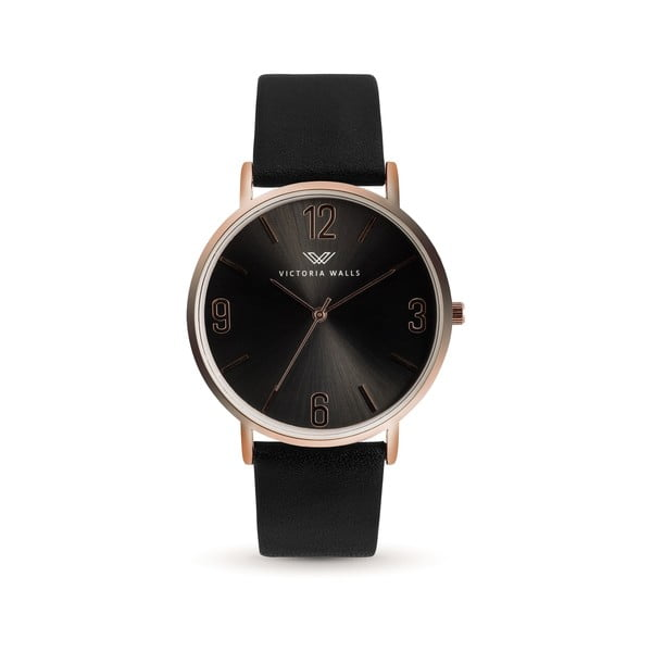 Dámské hodinky s černým koženým řemínkem Victoria Walls Negro