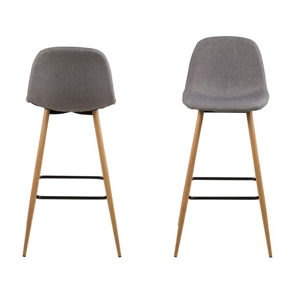 Set 2 scaune pentru bar Actona Wilma Barstool Vintage, gri deschis