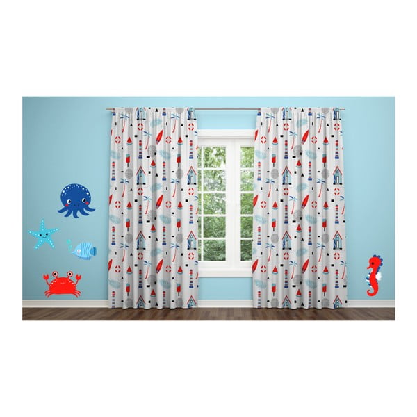 Sada 2 závesov OYO Kids Sea Creatures, 240 x 280 cm