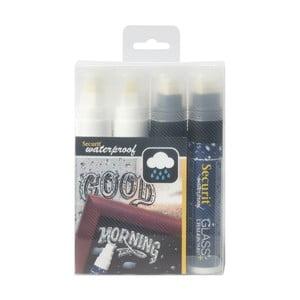 Sada 4 bílých a černých voděodolných křídových popisovačů Securit® Large Waterproof Chalkmarker