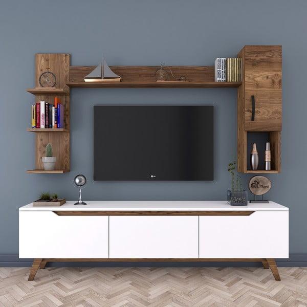 Zestaw białej komody pod TV, 2 półek i szafki Rani