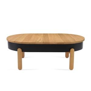 Masă din lemn de stejar cu spațiu de stocare Woodendot Batea L, negru