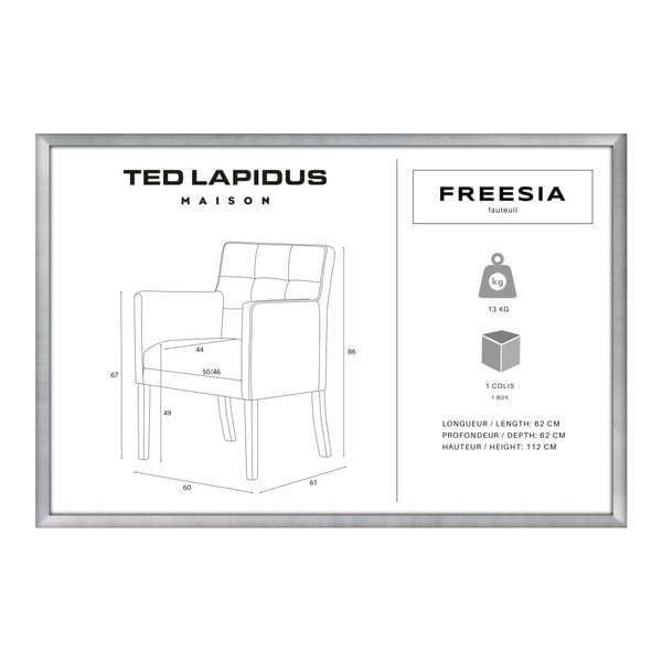 Scaun din lemn de fag Ted Lapidus Maison Freesia cu picioare maro închis, maro - gri