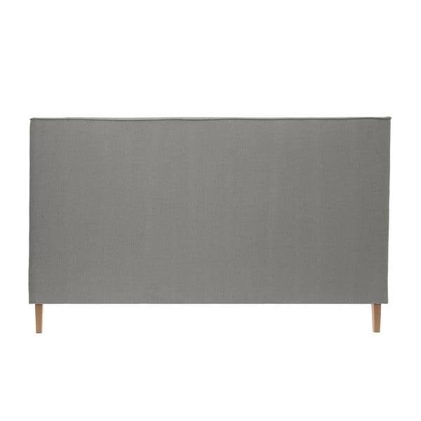 Šedá postel s tmavě šedými knoflíky a přírodními nohami Vivonita Kent,140x200cm