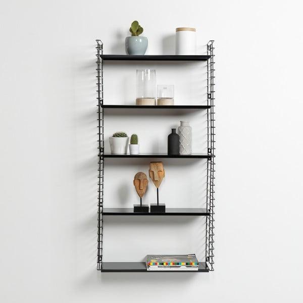 3patrový regál s černými policemi Metaltex Libro, délka 70 cm
