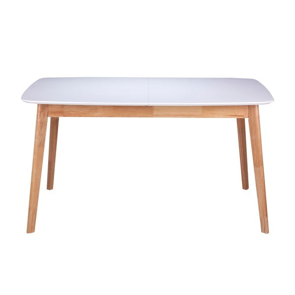 Bílý jídelní stůl s podnožím z kaučukovníkového dřeva sømcasa Kenna, délka 140 cm