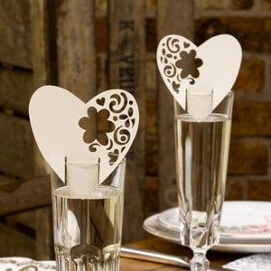 Sada 10 krémově bílých dekorací na skleničky Neviti With Love
