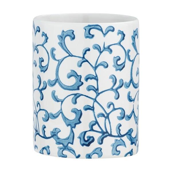 Modro-bílý keramický kelímek na kartáčky Wenko Mirabello