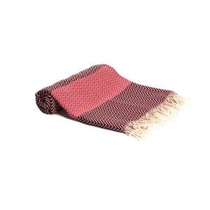 Červená ručně tkaná osuška Ivy's Asli, 95x180cm