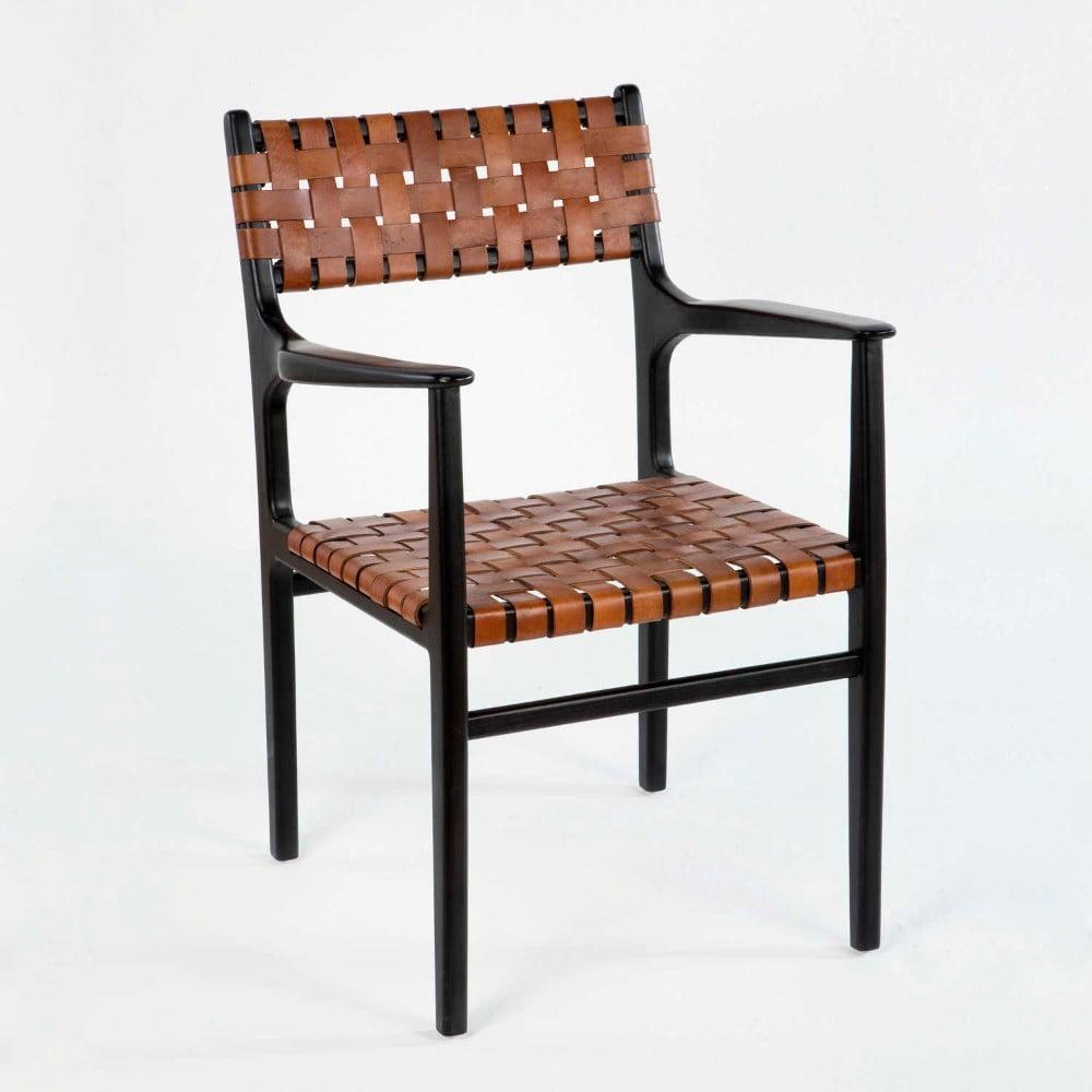 Kožená židle s opěradly na ruce Thai Natura