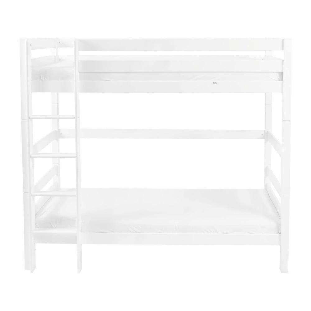 Bílá dětská patrová postel z masivního bukového dřeva Mobi furniture Daniel, 200x90cm